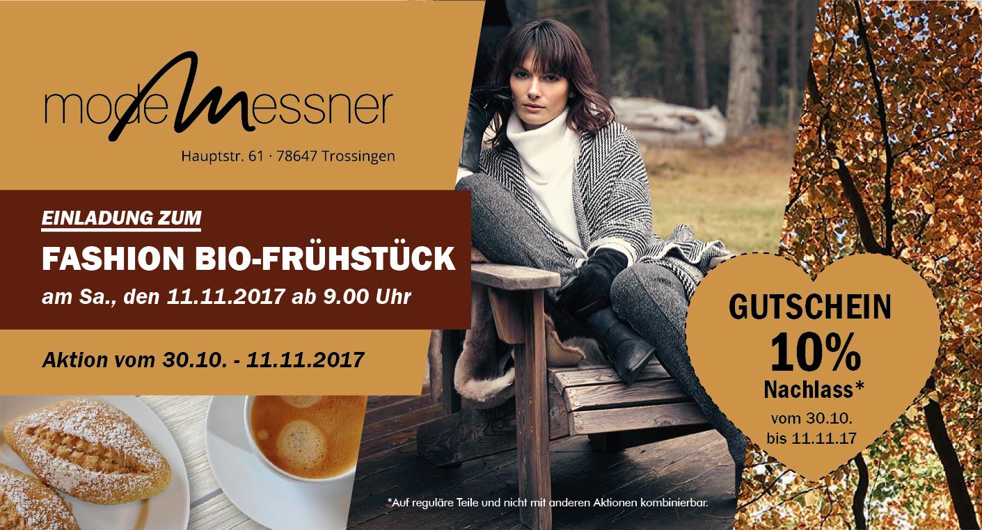 Einladung zum Fashion Bio-Frühstück am Samstag, den 11.11.2017 ab 9 Uhr