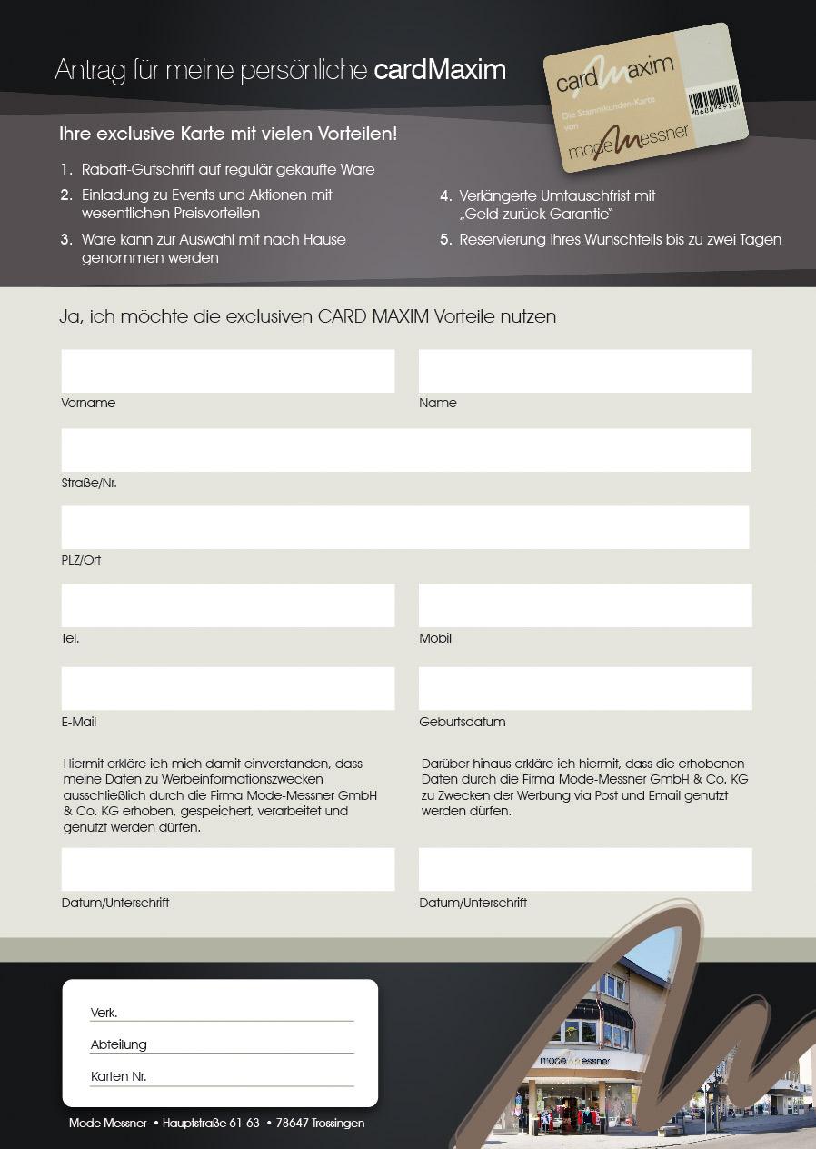 Antrag für meine persönliche cardMaxim